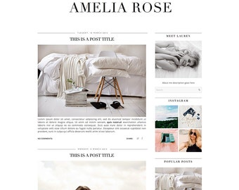 Premade Blogger Template - Instant Download - Amelia Rose - Blogger Template - blogger theme - blog design - blogger blog template