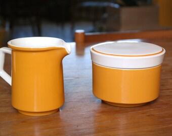 VIntage Mid Century Mikasa Light and Lively D5250 ceramic creamer and sugar bowl set orange 1970's Japan