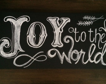 Handmade Joy to the World Chalkboard Canvas  Art