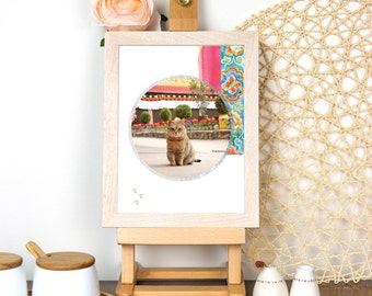 Wonderlust: Tibet Cat - Photography and Watercolor Art Print