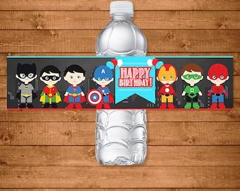 Superheroes Drink Labels Chalkboard -- Superhero Water Bottle Labels -- Superheroes Party Favors -- Superheroes Printables