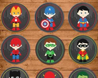 Superheroes Cupcake Toppers Chalkboard -- Superheroes Stickers -- Superheroes Party Favors -- Superheroes Printables