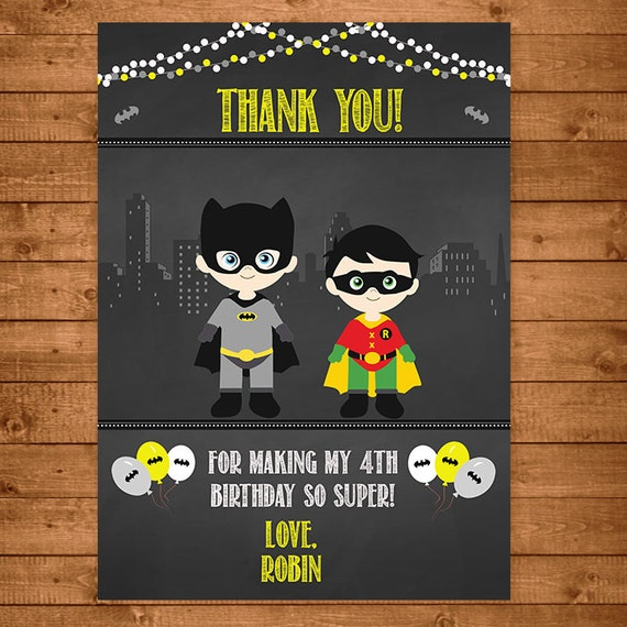 Batman Robin Superhero Thank You Card Chalkboard Theme -- Batman Thank You -- Batman Birthday -- Batman Party Favors