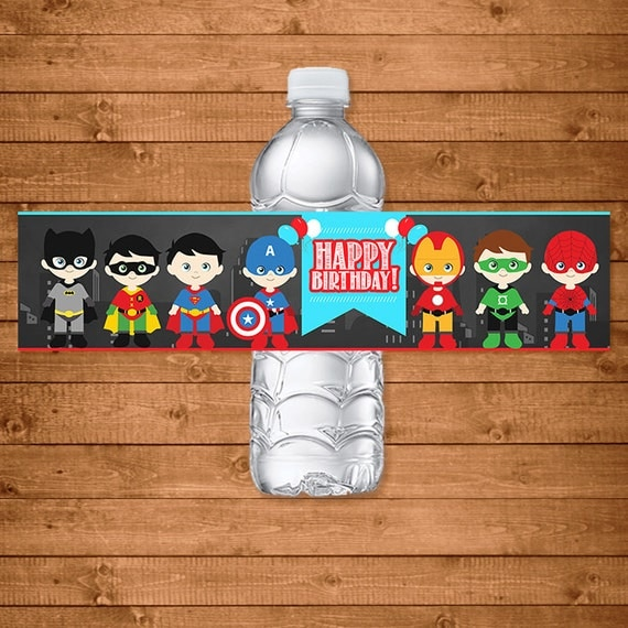 Superheroes Drink Labels Chalkboard -- Superheroe Water Bottle Labels -- Superheroes Party Favors -- Superheroes Printables