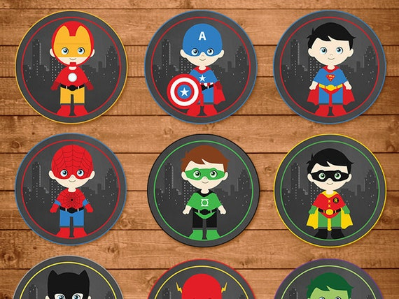 Superheroes Cupcake Toppers Chalkboard -- Superheroes Stickers -- Superheroes Party Favors -- Superheroes Printables