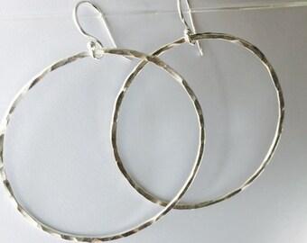 Silver Hoop Earrings hammered sterling silver simple earrings everyday lightweight earrings large handmade round silver hoop earrings