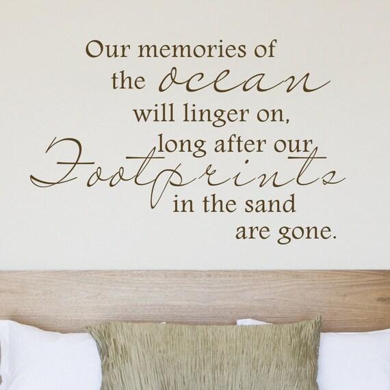 Footprints Wall Decor : Our memories ocean footprints sand beach vinyl wall decal home