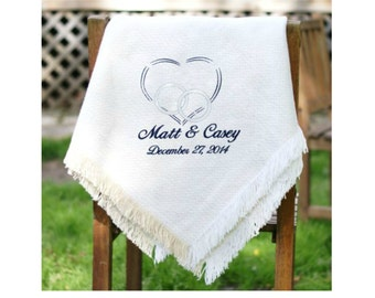 Embroidered Wedding Afghan, Wedding Throw
