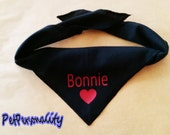 Personalised Dog Bandana with Heart Print, Choice of Colours and Sizes