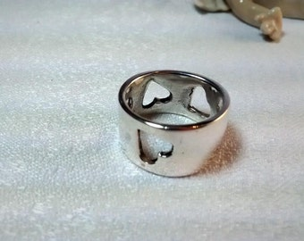 Four Hearts Sterling Silver Ring