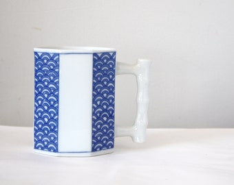 Blue and White Octagon Coffee Cup Mug