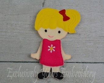 Bright Girl Felt Paper Doll and outfit - Party Favor - Pretend Play - Quiet Game - Travel Toy - Flat Doll - Paper Doll - Dress Up Doll