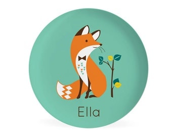 KIDS PLATE, baby gift, Personalized plate, Fox, Woodland Dish for kids, gift for boys, gift for girls