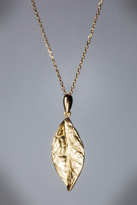Gold Leaf Necklace Delicate 14k Gold Plated Nature Leaf