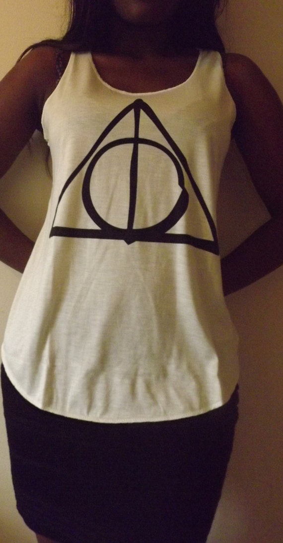 Deathly hallows triangle tshirt top tee t shirt by teeshopuk for Wizard t shirt printing