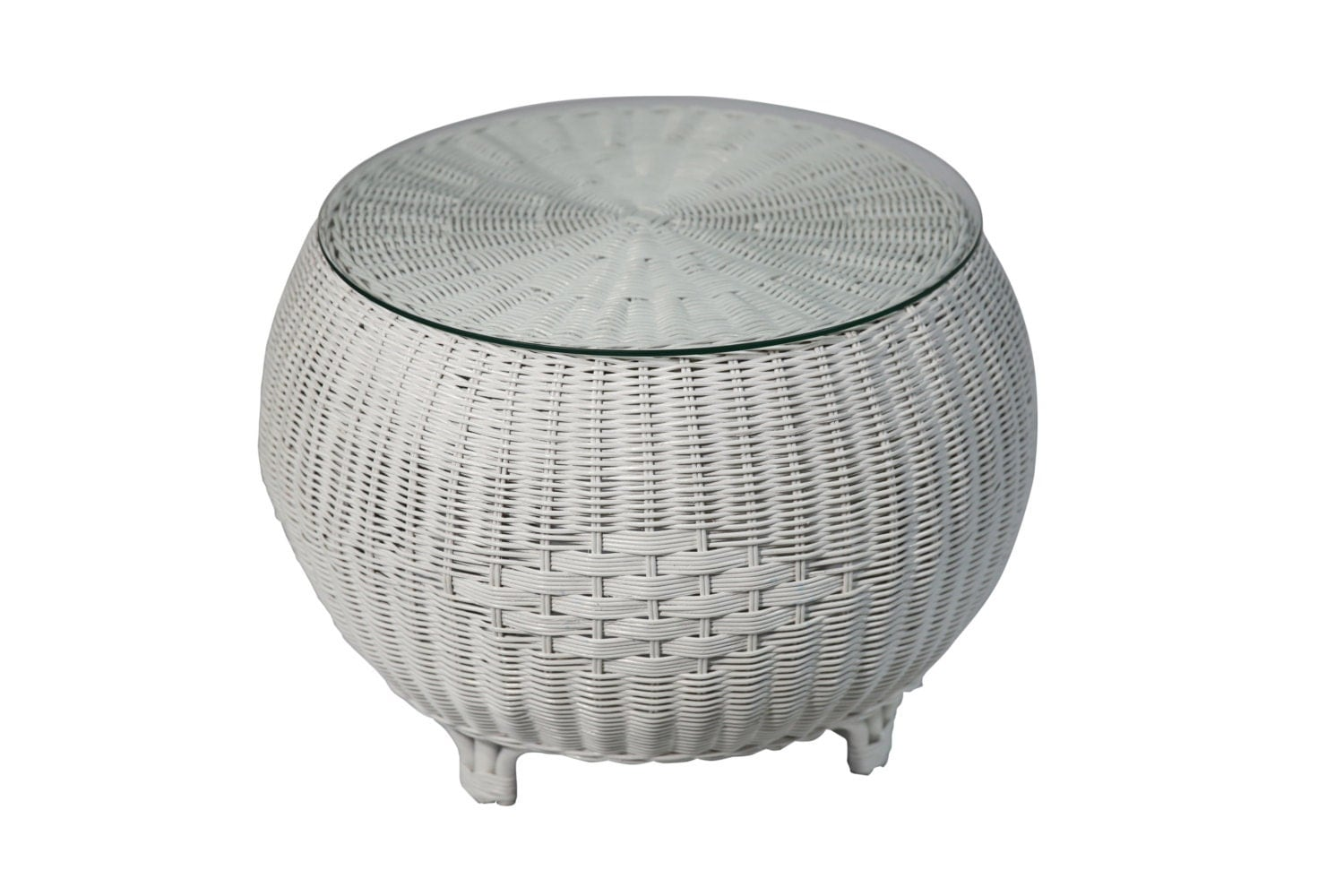 Rattan Round Coffee Table In White