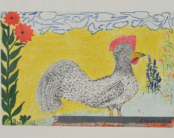 Folk Art drawing of a Chicken - African American Outsider Artist