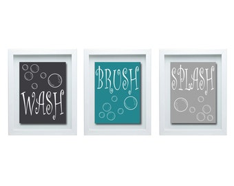 Wash Brush Splash, Bathroom Rules, Boy Bathroom Decor, Bathroom Wall Art, Girl Bathroom Decor, Bathroom Wall Art, Bathroom Art,