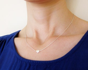 Silver Heart Necklace, Silver Necklace With Tiny Heart