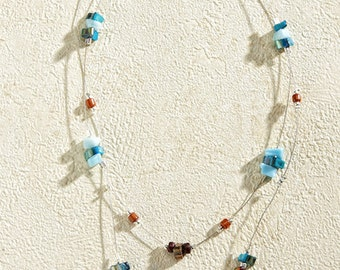 Beautiful River Stones Necklace with Silver