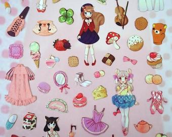 Kawaii girl stickers - Japanese stickers - kawaii stickers - girl stickers - lolita fashion stickers - dessert stickers - mermaid stickers