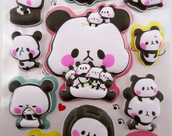SUPER PUFFY Japanese panda 3D stickers - kawaii baby pandas - chubby panda - cartoon panda - large stickers - panda babies - silly cubs