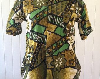 Vtg Tiki Barkcloth Cotton shirt - modified for Woman