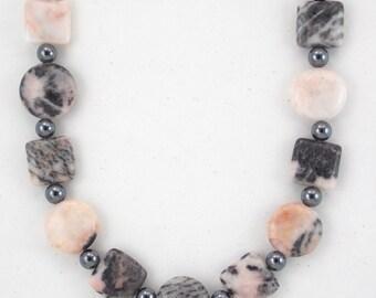Sale, Pink Jasper Necklace, Hematite Necklace, Gemstone Necklace, Large Necklace, Handcrafted Jewelry, Pink Necklace, Pink Gemstone Jewelry