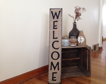 Burlap Welcome Sign