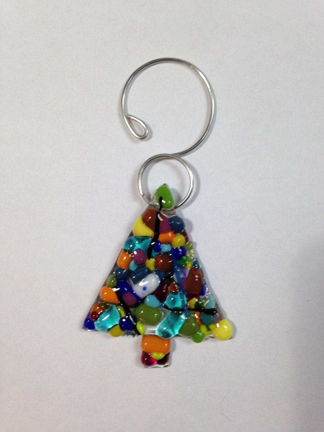 Funky bits fused glass christmas tree ornament by energylites