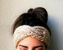 Turban Ear Warmer Headband, Boho Knit Headband, Turban Headband Ear Warmer, Knitted Ear Warmer, Knitted Head Band, Turban Style Headband