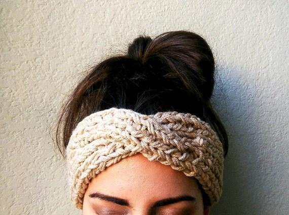 Turban Ear Warmer Headband Boho Knit Headband by TheSnugglery