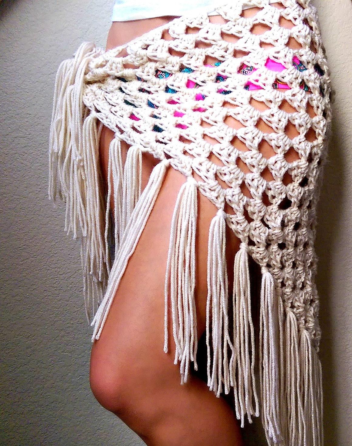 Free Crochet Pattern For Beach Wrap : Crochet Sarong Festival Clothing Crocheted Fringe Scarf