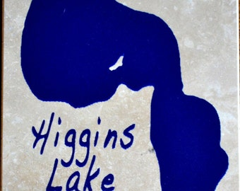 "Set of 4 ""Higgins Lake"" Coasters. Free Shipping.  Ordering ""1"" is one set of 4 coasters"