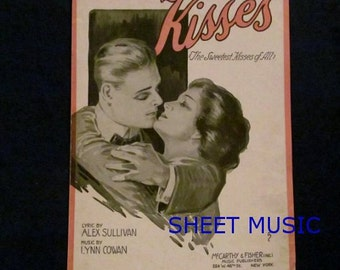 Romantic Cover for 'Kisses', Sheet Music 1918, Man and Woman, Lovers Embracing