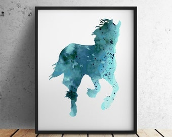 Horse Art Print Teal Home Decor Animal Painting Turquoise Horses Sign