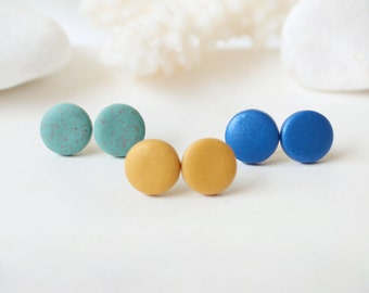 Set of 3 stud earrings, gold verdigris green blue studs round post earrings polymer clay studs minimalist jewelry button mothers day gift