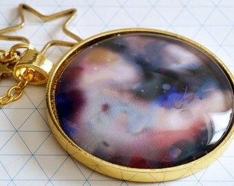 Night Sky Star Glass cabochon Pendant Necklace.