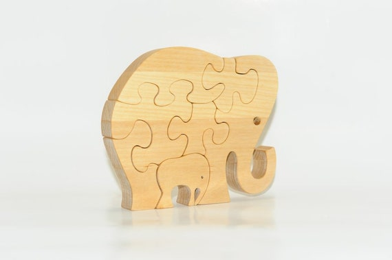 Wood puzzle mammoth and her baby toy. Wooden handmade toys, wooden animals, Natural eco friendly, waldorf toy, education children, kids game