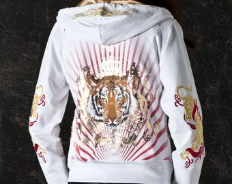 Tiger Women Jacket White Hoodie Colorful Long Sleeve Bomber Jacket Rebel Chic Glam Rock Clothing