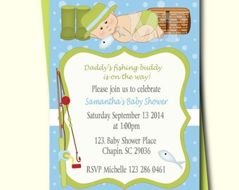 Fishing Baby Shower Invitation- Fishing Baby Boy Shower Invites-  Fish Theme Boy Baby Shower Printable- Daddys Fishing Buddy- Gone Fishing