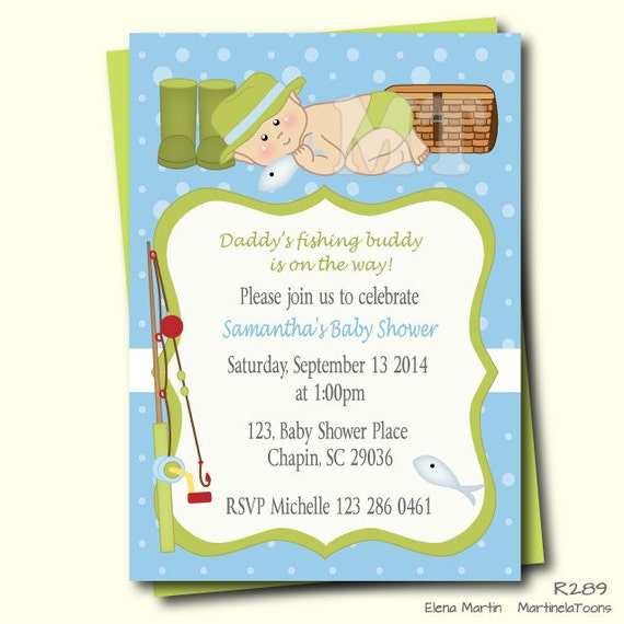 Fishing Baby Shower Invitation Fishing Baby Boy Shower