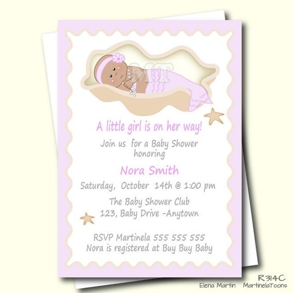 pink mermaid baby shower invitation african american little mermaid
