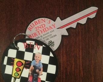 Car themed birthday party invitation