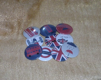 10 loving magnets round 32 mm Collection London Calling customizable