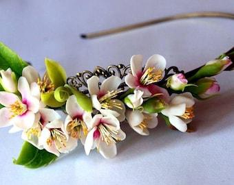 cherry blossom headband, wedding hair flower, bridal head piece, women accessories