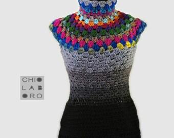 """Women's vest, turtleneck, sleeveless, woolen vest, crochet fabric. """"Ema"""" from the Collection """"Queens"""""""