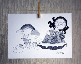 My World - A4 Signed Unframed Inkjet Print
