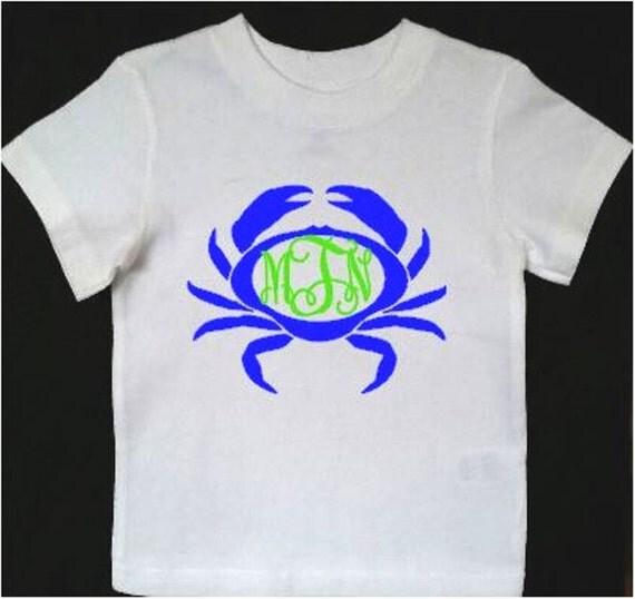 Monogrammed Crab Children 39 S T Shirt By Made4ubyusmonograms