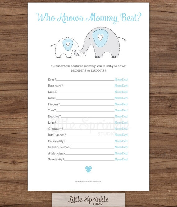 who knows mommy best blue elephant baby boy shower game printable